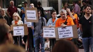 Asamblea del Sindicat de Llogaters celebrada en la avenida de Mistral, el pasado 26 de mayo.