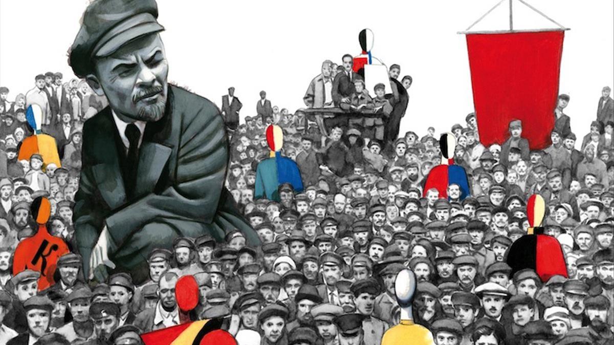 Ilustración de Fernando Vicente para Diez días que sacudieron el mundo, la crónica de John Reed sobre la revolución rusa.