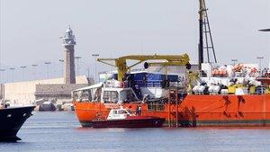 Llegada del Aquarius al puerto de València el pasado 17 de junio del 2018.