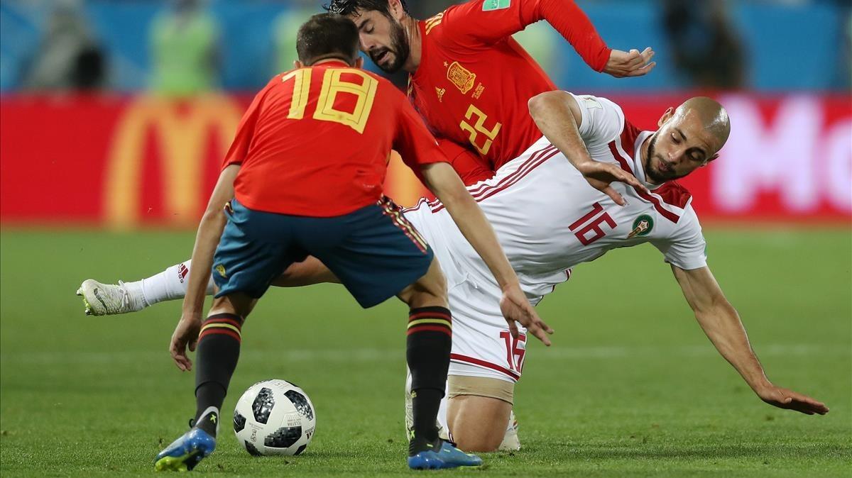 Alba e Isco, en un momento el partido del Mundial España-Marruecos.
