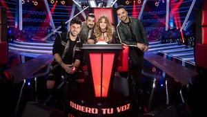 Los coach del concurso de Antena 3 La voz:Pablo López,Antonio Orozco,Luis FonsiyPaulina Rubio.