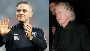 El cantante Robbie Williams, a la izquierda, y Jimmy Page, guitarrista de Led Zeppelin.