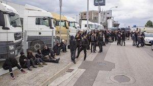 Los activistas que han irrumpido en el matadero de Riudellots.