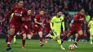 Messi, en el Liverpool-Barça, disputado en Anfield el 7 de mayo del 2019.