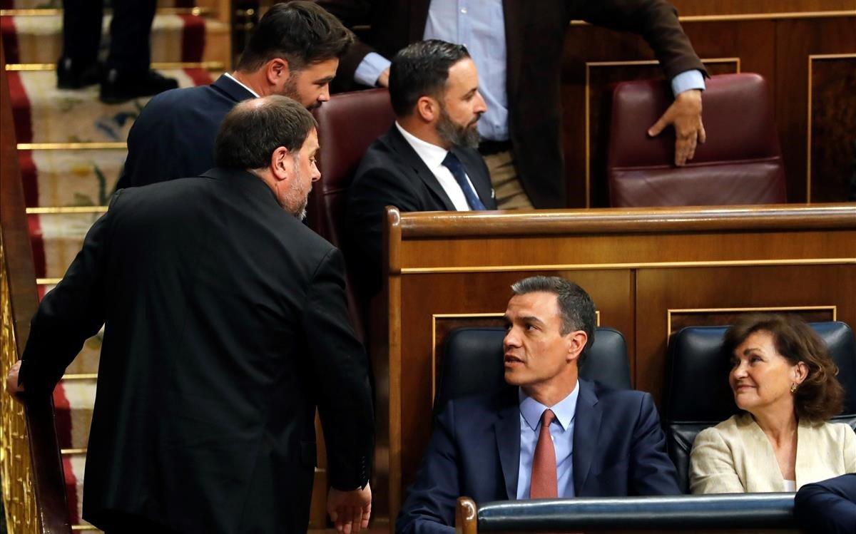 Oriol Junqueras y Pedro Sánchez en el Congreso de los Diputados