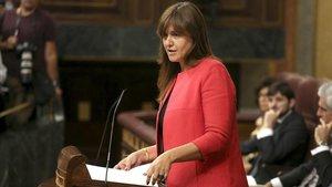 Laura Borràs, portavoz de Junts per Catalunya, en el debate de investidura de julio.