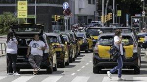 Hilera de taxistas en la parrilla de espera de la estación de Sants, la mañana del martes.