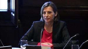 La presidenta Carme Forcadell presidiendo la reunió de representantes parlamentarios en el Diputación Permanente del Parlament.