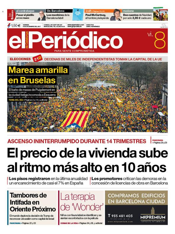 La portada de EL PERIÓDICO DE CATALUNYA del 8 de diciembre del 2017