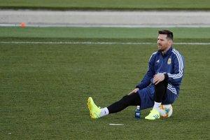 Leo Messi durante el entrenamiento de este martes de Argentina en Madrid.