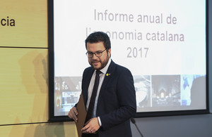 Pere Aragonès, en la presentación del informe económico anual.