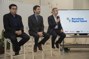 Presentación del Barcelona Digital Talent, con Pisarello, Puigneró y Arrufí.