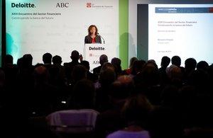 La subgobernadora del Banco de España Margarita Delgado interviene en la inauguración del XXVI Encuentro del Sector Financiero.