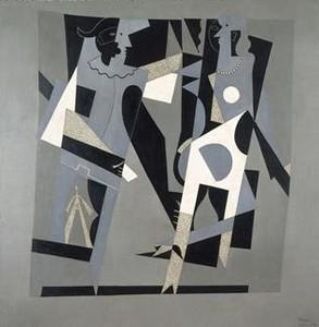 Arlequín y mujer con collar (1917), óleo sobre tela de Pablo Picasso.