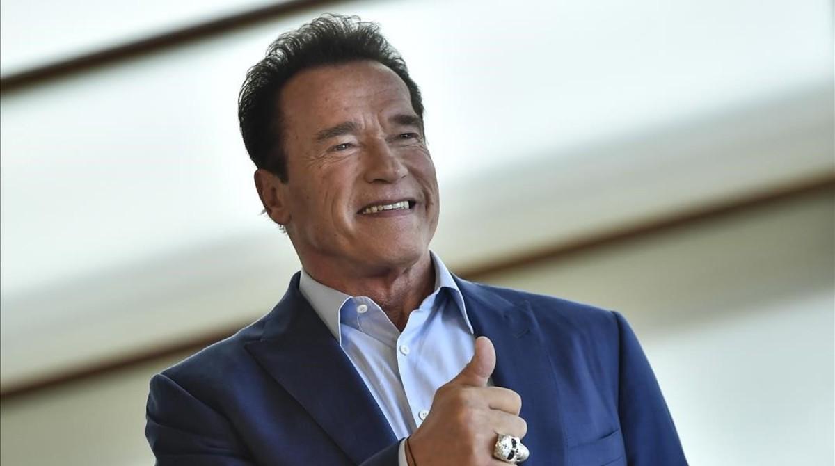 Arnold Schwarzenegger, en San Sebastián, donde presnetó un documental sobre los océanos.