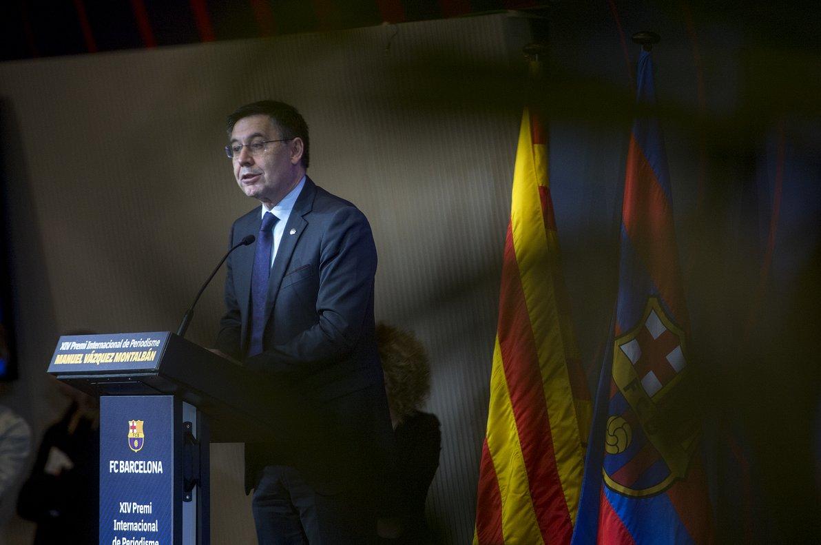 Josep Maria Bartomeu, durante la entrega del premio Vázquez Montalbán.