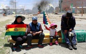 Seguidores de Evo Morales en una jornada de protestas en Bolivia.