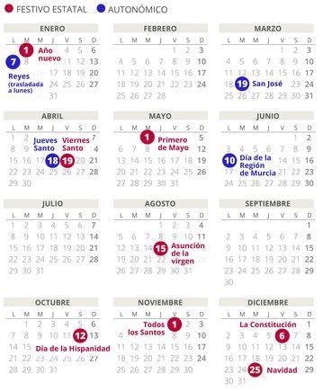 Calendario laboral de Murcia del 2019.