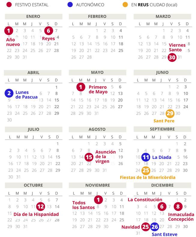 Calendario laboral de Reus del 2018.