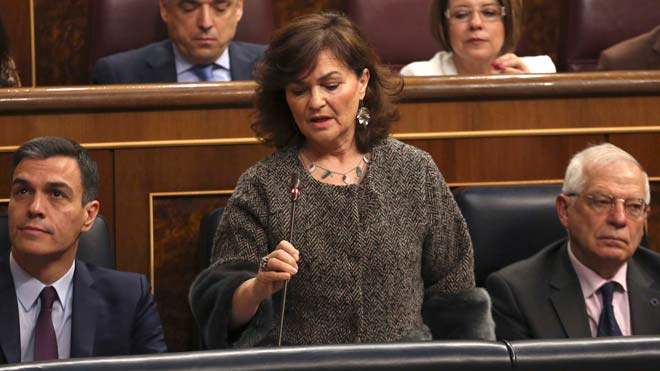 Calvo: No existe un 155 eterno, la ultraderecha tiene que dejar de mentir con la Constitución en la mano.