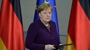 La cancillera alemana, Angela Merkel, en la comparecencia de prensa que ha ofrecido este jueves.