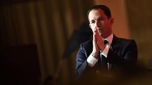 El candidato presidencial Benoit Hamon la noche de su derrota electoral.