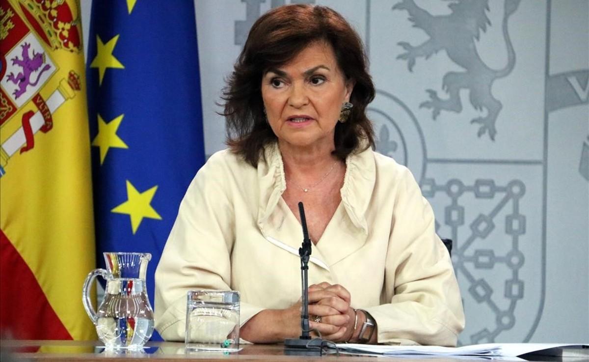 Carmen Calvo, en una reciente rueda de prensa del Consejo de Ministros.
