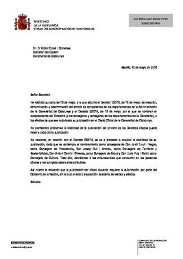 Carta del Gobierno donde avisa que retrasa la publicación del nombramiento de los consellers.