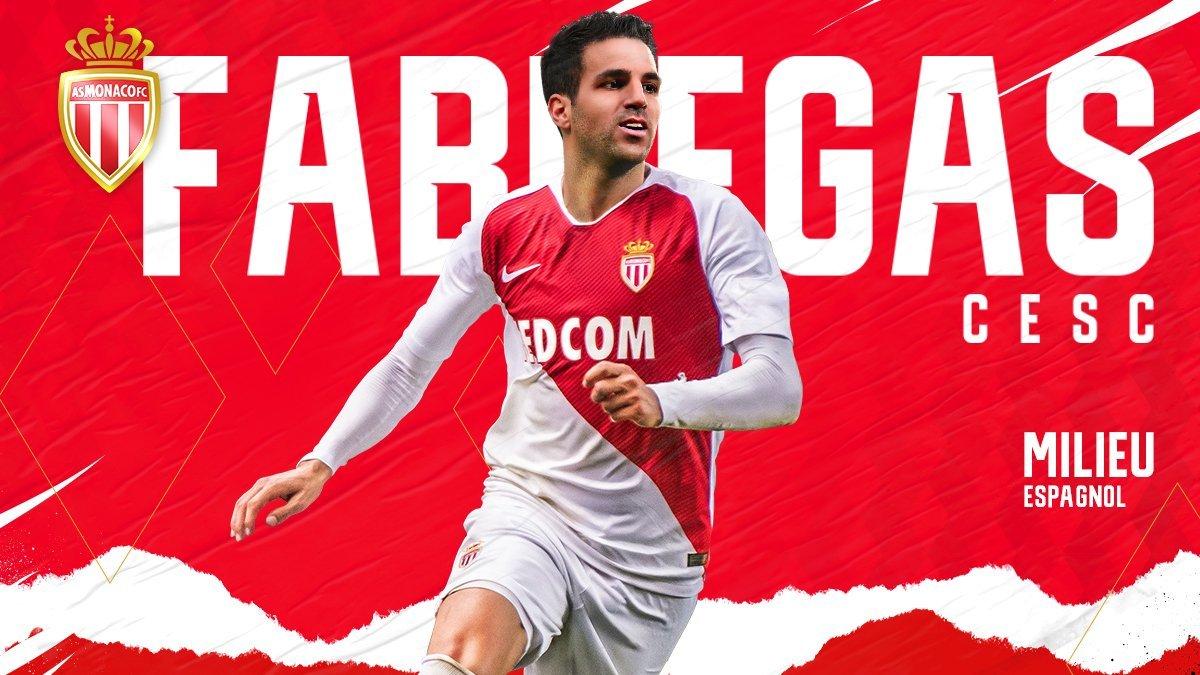 El anuncio del Mónaco con su nuevo jugador, Cesc Fàbregas.