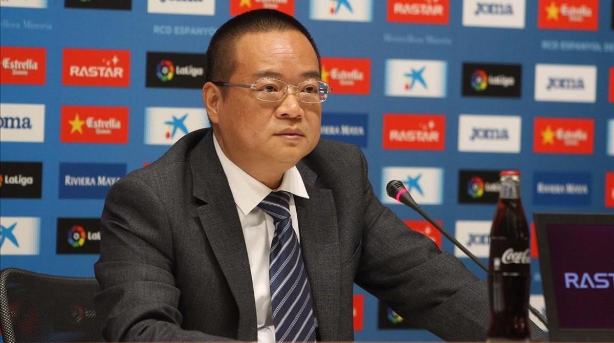 Chen Yansheng, en la sala de prensa del estadio del Espanyol.