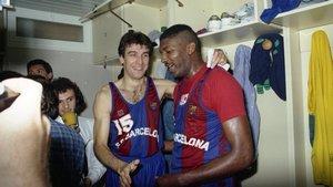 Chicho Sibilio (derecha) y Epi celebran un título conseguido por el Barça.