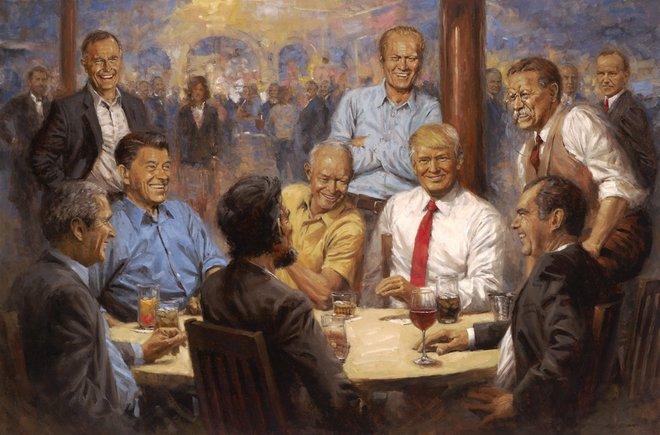 El club republicano obra de Andy Thomas, en el que aparecen Trump y otros dirigentes históricos republicanos.