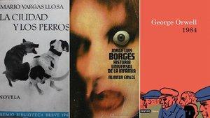 Primera edición de 'La ciudad y los perros' (Mario Vargas Llosa, Seix Barral); la portada de 'Historia universal de la infamia', de Borges, obra de Daniel Gil (Alianza); y la de 1984, de George Orwell, en Destino.