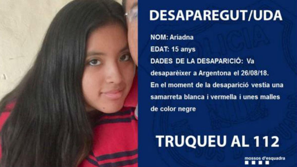 Imagen difundida por los Mossos dEsquadra de la menor desaparecida en Argentona.
