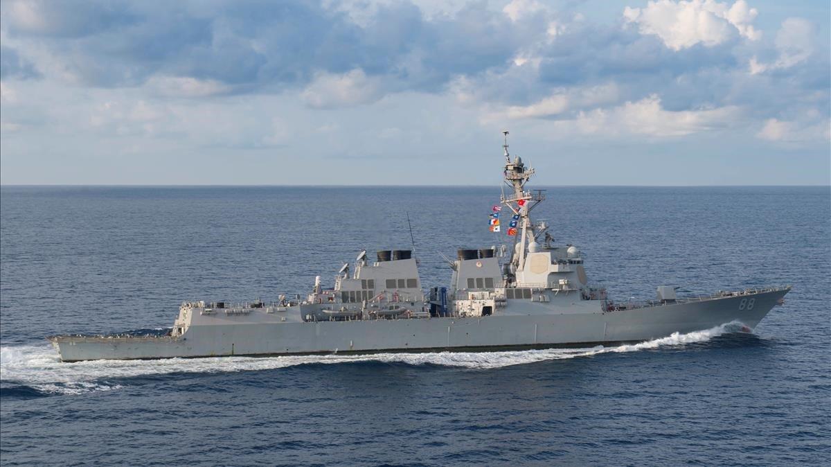 El destructor estadounidense USS Preble, en el océano Índico, el pasado 296 de marzo.
