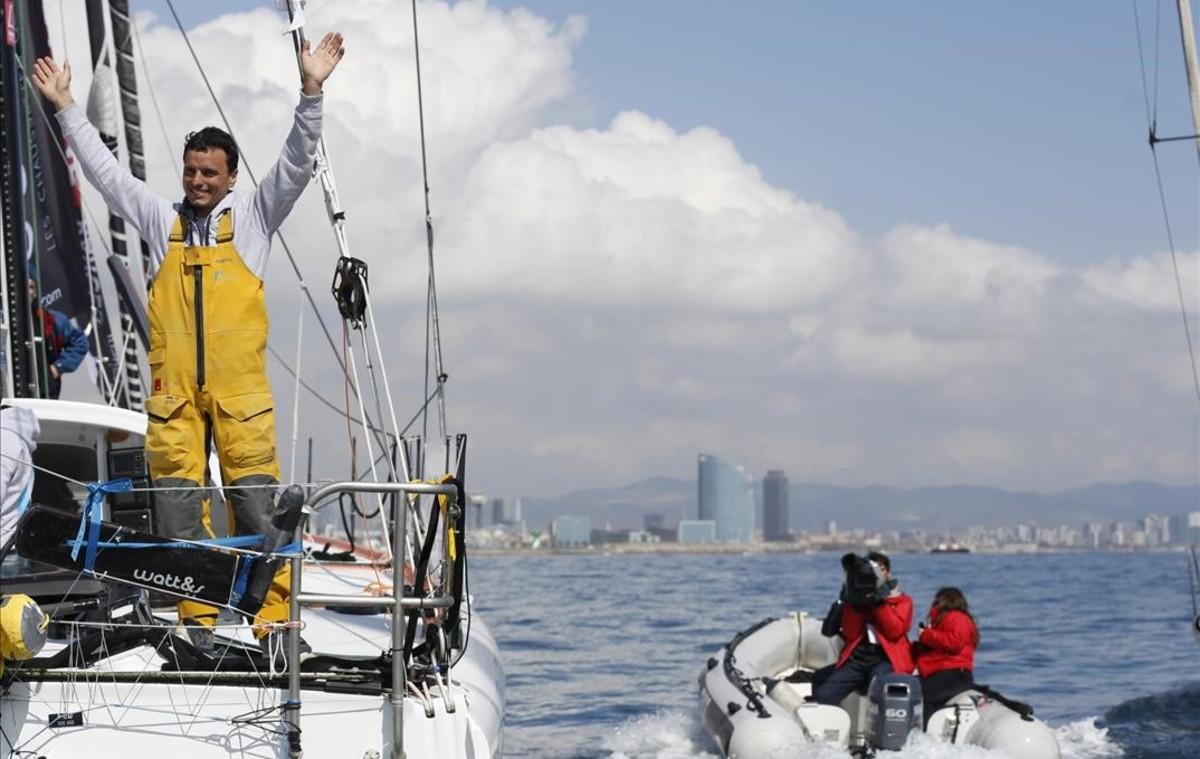 Dídac Costa, a su llegada este sábado a Barcelona a bordo del 'One Planet One Ocean'.