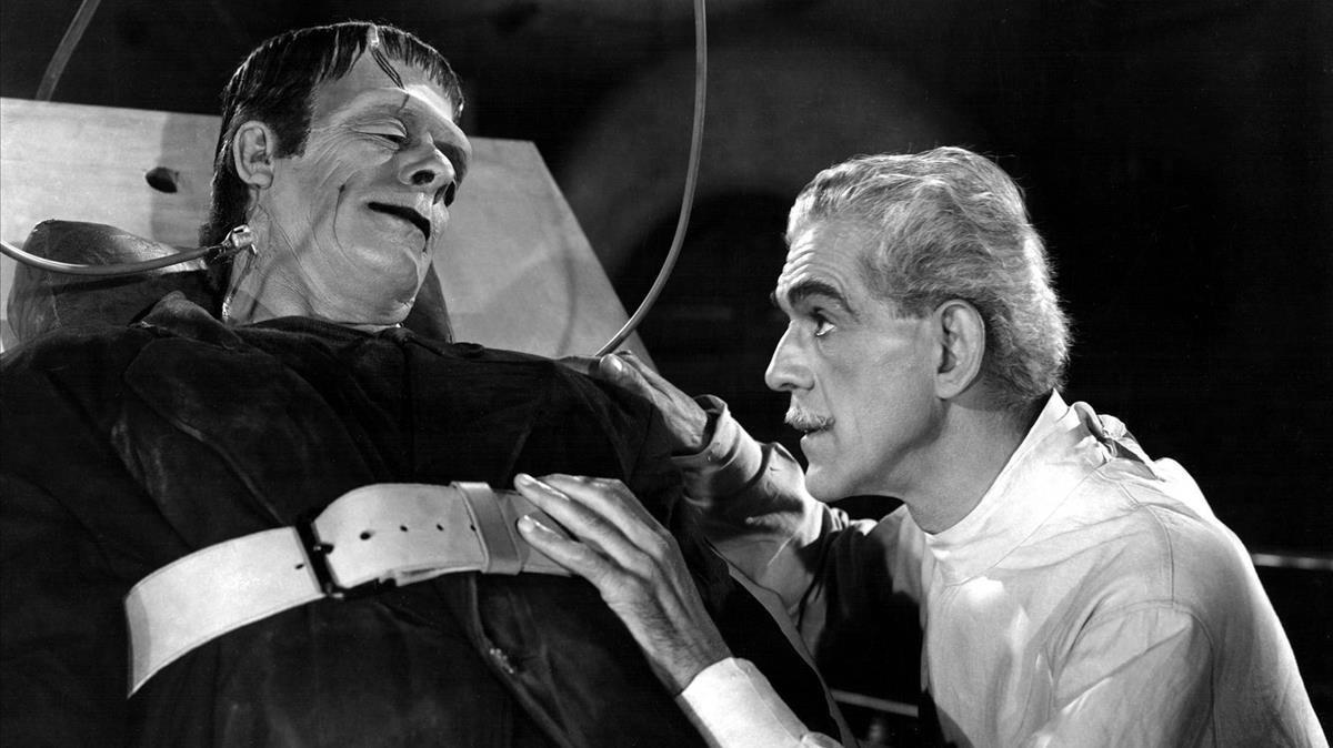 El doctor Frankestein y su criatura.