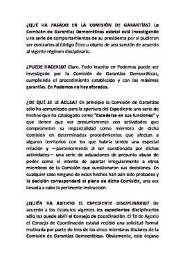 Documento con la versión de la Secretaría de Organización de Podemos.