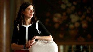 La escritora Ana Merino, ganadora del Premio Nadal, este martes en el Hotel Palace.