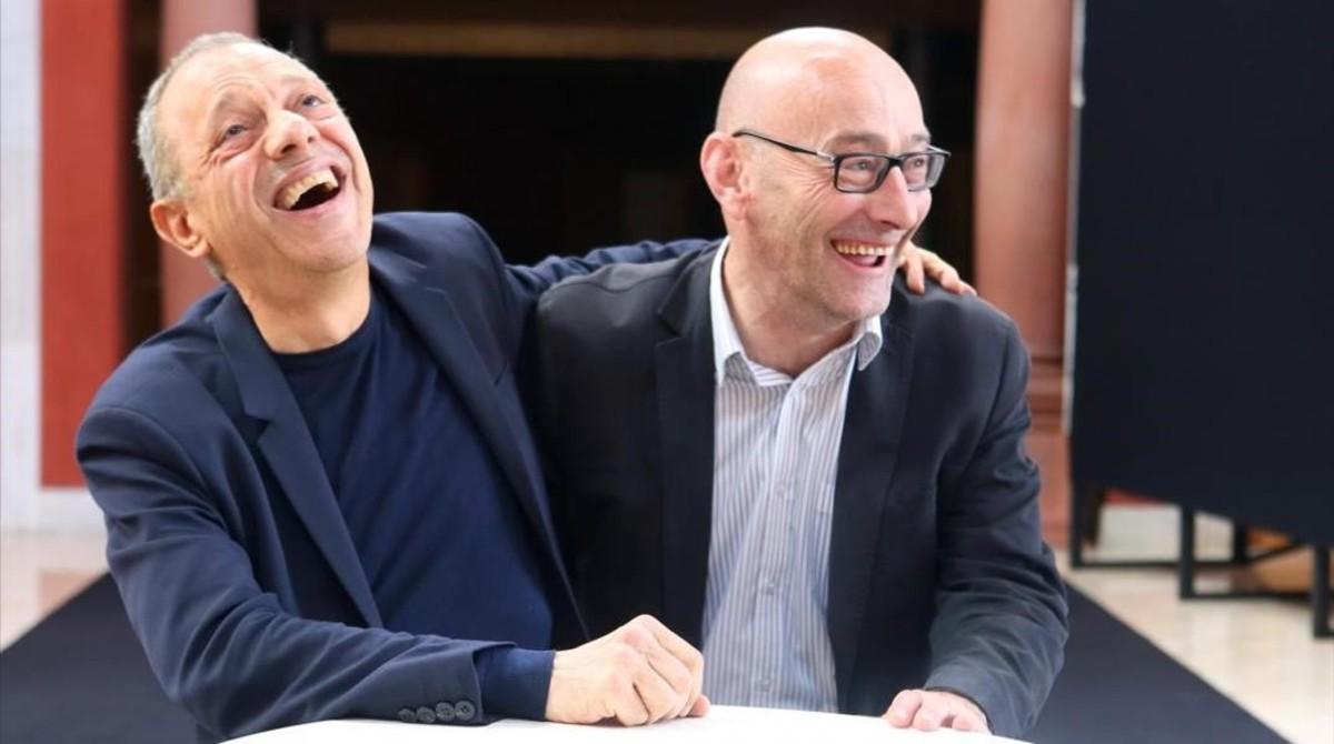 Salvador Sunyer (derecha), artífice de Temporada Alta, y Lluís Pasqual.