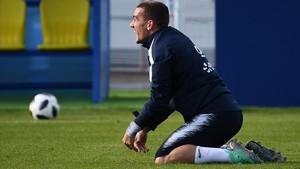Griezmann, en un entrenamiento de la selección francesa en Rusia.