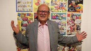 Ibáñez, este martes en el Museu del Còmic de Sant Cugat, en la inauguración de la exposición que recorre su vida y obra.