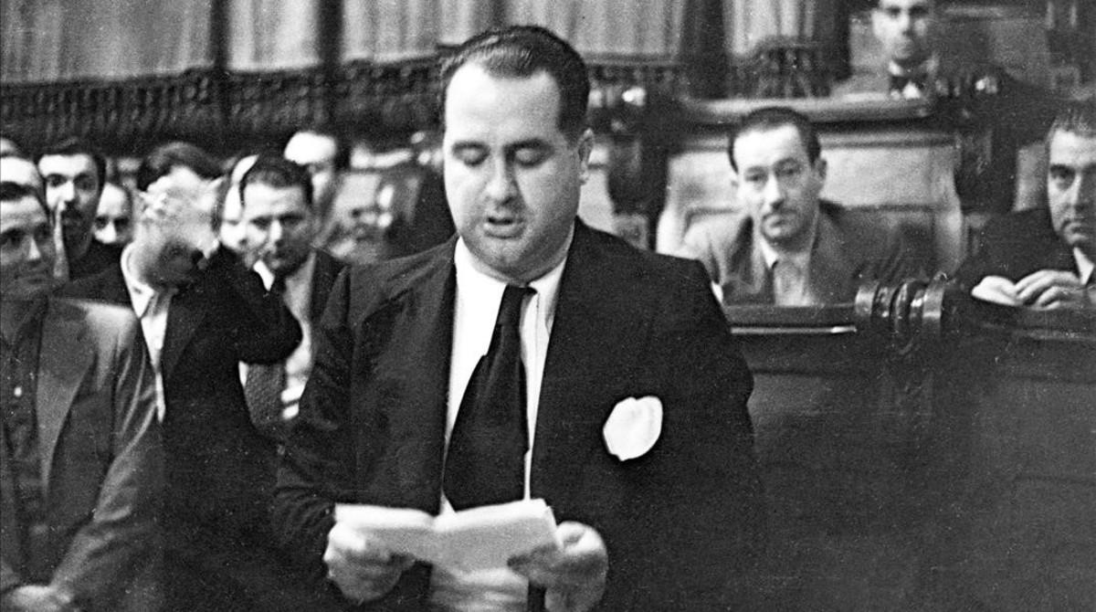 Hilari Salvadó, el día de su proclamación como alcalde, el 16 de julio de 1937.