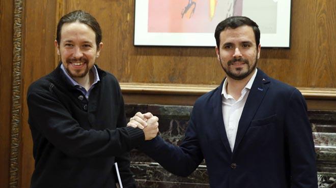 Iglesias y Garzón anúncian en Twitter la firma del acuerdo electoral Podemos-IU.