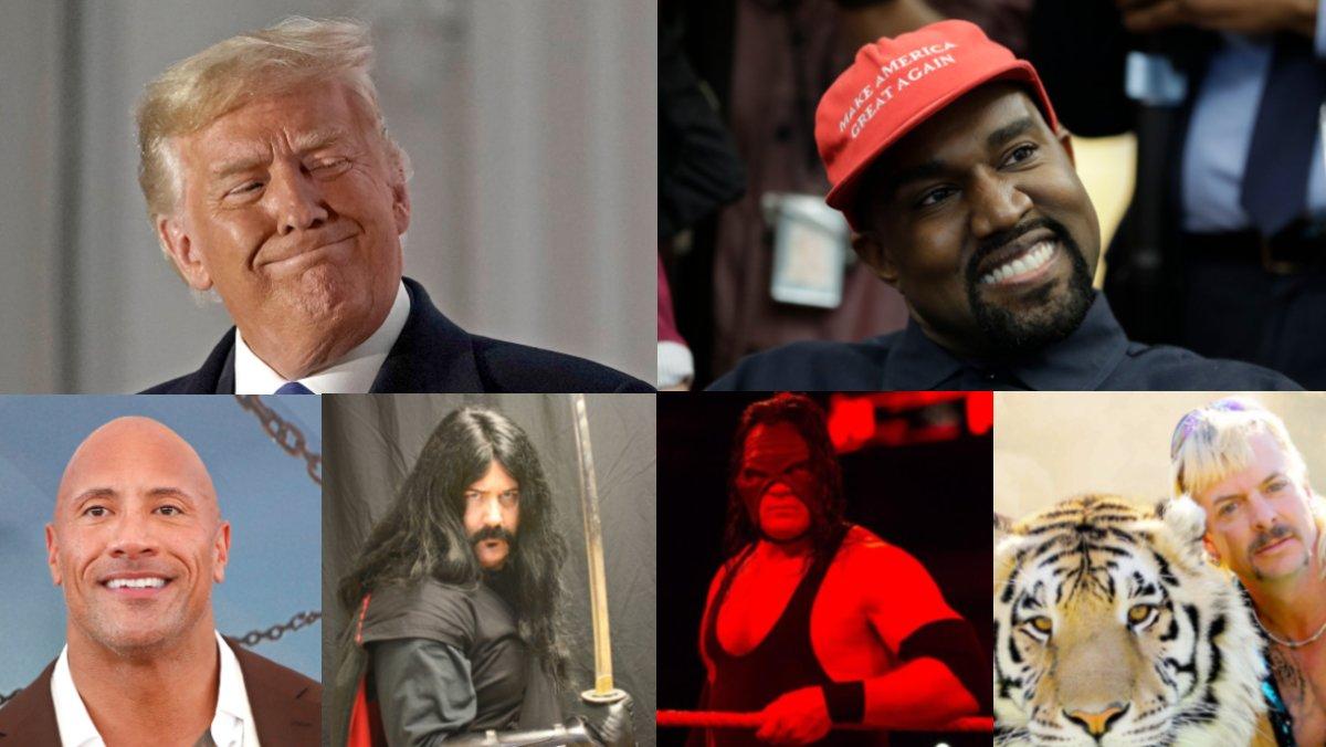 De izquierda a derecha y de arriba a abajo, Trump, West, La Roca, John Albert Sharkey, Kane y Tiger King.