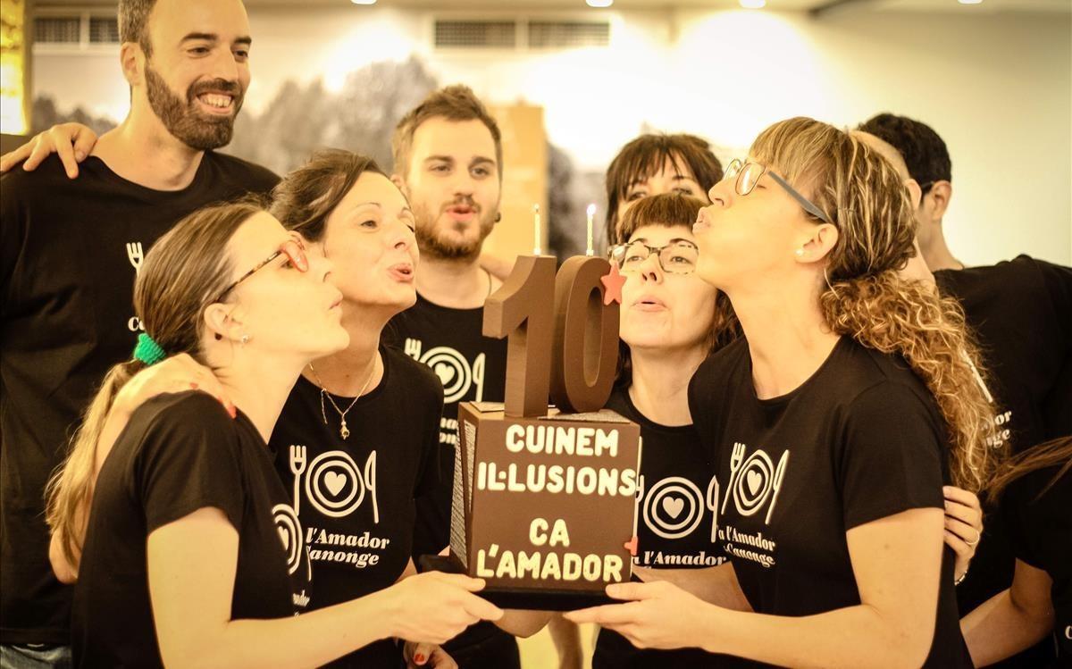Fiesta conmemorativa del décimo aniversario del resturante Canonge de Manresa.