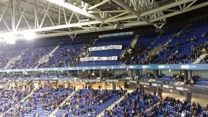 Un aspecto de la grada en el partido del RCDE Stadium en el partido de este lunes contra el Getafe.