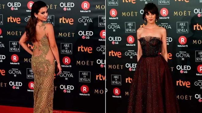 Lalfombra vermella dels premis Goya 2018 desafia el fred, Mónica Cruz i Belén Cuesta.