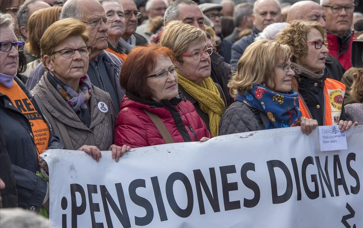 Manifestación de pensionistasel pasado mesen Barcelona.