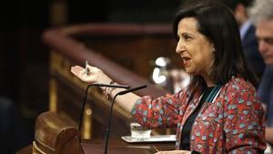 Margarita Robles en la tribuna del Congreso.